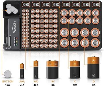 PENBOR Battery Organizer Storage Case